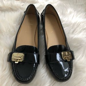 Cole Haan patent loafer shoe with buckle accents